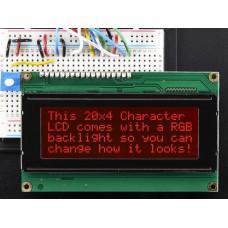 498 - RGB backlight negative LCD 20x4 + extras - RGB on black