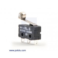 1404 - Snap-Action Switch with 16.3mm Roller Lever: 3-Pin, SPDT, 5A