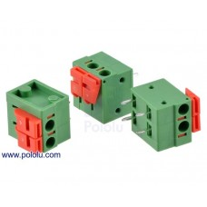 2430 - Screwless Terminal Block: 2-Pin, 0.2″ Pitch, Side Entry (3-Pack)